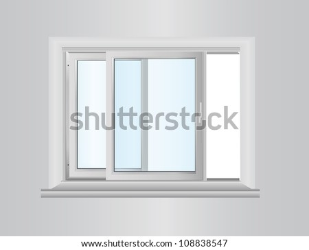 White plastic double door window - stock vector