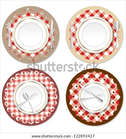 White plate on a checkered red tablecloth - stock vector