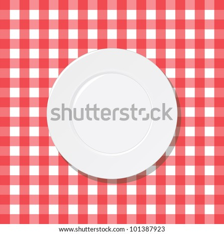 White plate on a checkered red tablecloth - Vector EPS10 - stock vector