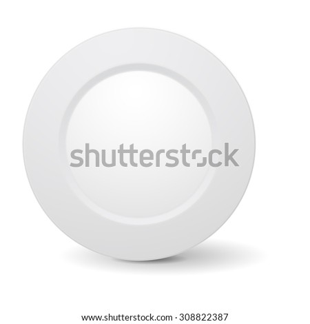 White plate. Vector Illustration isolated on white background. - stock vector