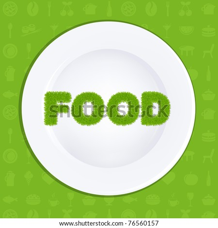 White Plate With Inscription Food From Grass, Vector Illustration - stock vector