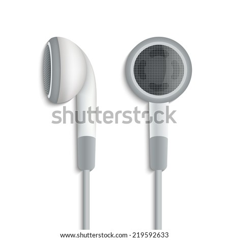 White plug stereo headphones on white background - stock vector