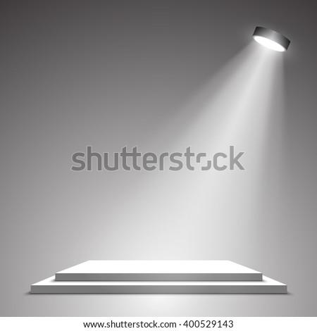 White podium. Pedestal. Scene. Spotlight. 3D. Vector illustration. - stock vector