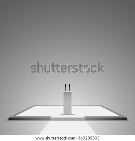 White podium. Pedestal. Stand. Tribune. Scene. 3D. Vector illustration. - stock vector