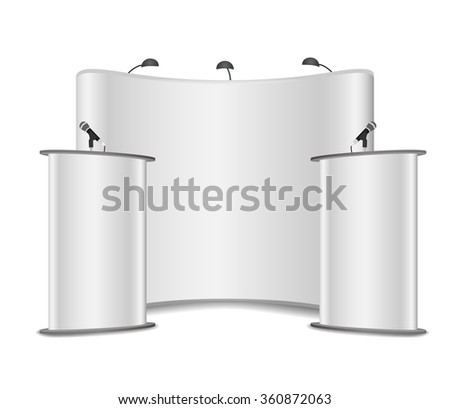 White Podium Tribune Rostrum Stands with Microphones on a white background - stock vector