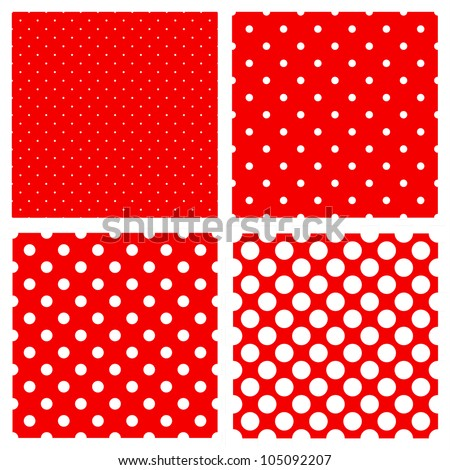 White polka dots pattern on red background - stock vector