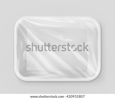 White polystyrene packaging, vector mockup - stock vector