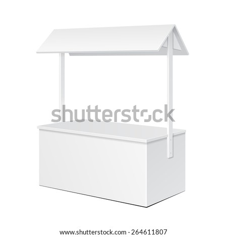 White POS POI Blank Empty Retail Stand Stall Bar Display With Roof, Canopy. On White Background Isolated. Mock Up Template Ready For Your Design. Product Packing Vector EPS10 - stock vector