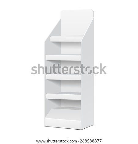 White POS POI Cardboard Blank Empty Displays With Shelves Products On White Background Isolated. Ready For Your Design. Product Packing. Vector EPS10  - stock vector