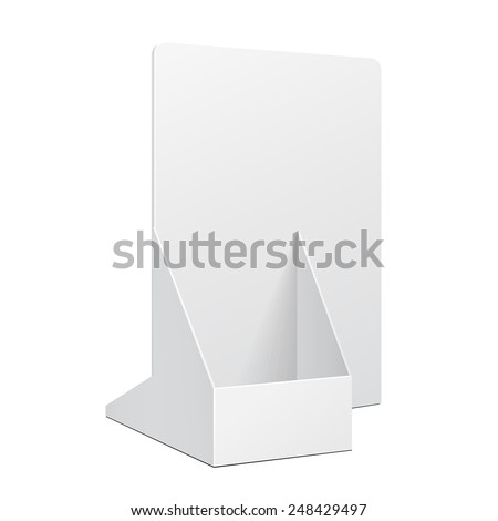 White POS POI Cardboard Blank Empty Show Box Holder For Advertising Fliers, Leaflets Or Products On White Background Isolated. Ready For Your Design. Product Packing. Vector EPS10  - stock vector