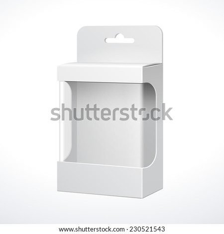 White Product Package Box With Window. Illustration Isolated On White Background. Ready For Your Design. Vector EPS10 - stock vector