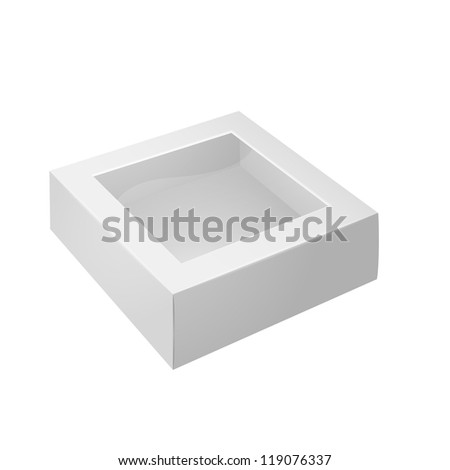 White Product Package Box With Window. Ready For Your Design. Vector EPS10 - stock vector