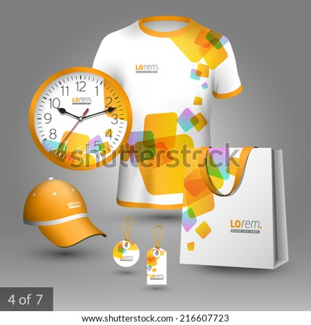 White promotional souvenirs design for company with yellow square figures. Elements of stationery. - stock vector