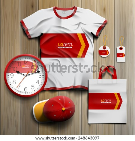 White promotional souvenirs design for corporate identity with red arrow. Stationery set - stock vector