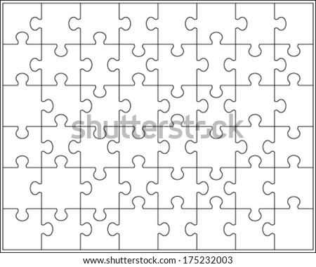 White puzzle, vector illustration - stock vector