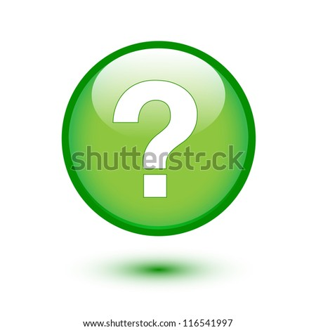 White question mark on green button - stock vector