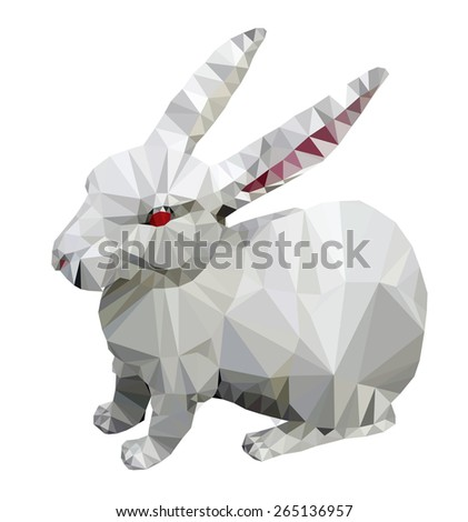 White rabbit, low poly vector illustration.  - stock vector
