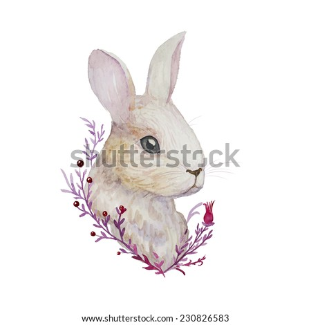 White Rabbit. Watercolor Easter art print. Vector hand drawn illustration in vintage style. - stock vector