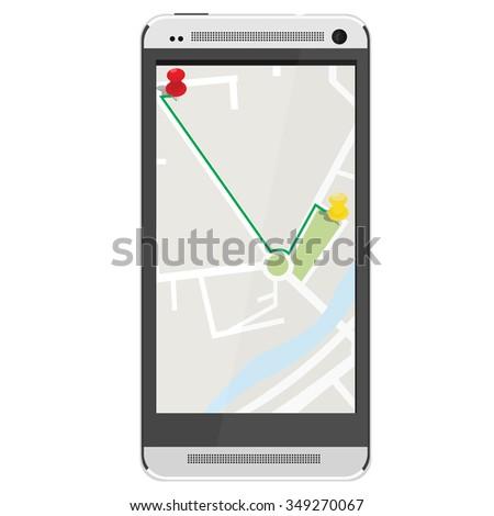White realistic mobile smartphone with gps navigation. Gps device. Navigation map. Gps navigator - stock vector