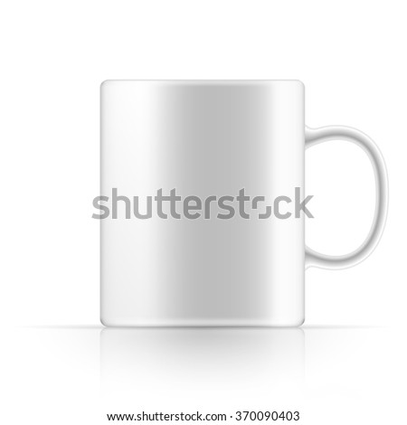 White realistic mug of tea or coffee on a white background. - stock vector