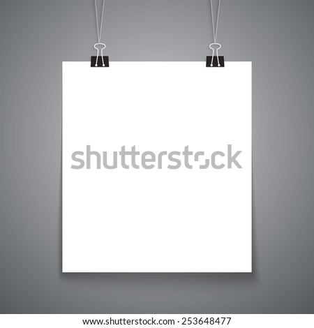 White realistic paper banner with clips. Vector illustration - stock vector