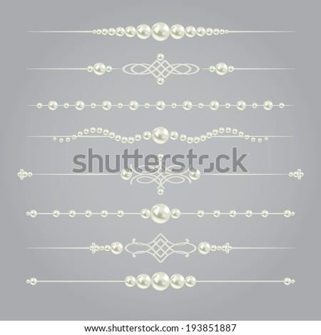 white realistic pearl dividers set collection isolated on grey background. vector illustration. design elements and page decor  - stock vector