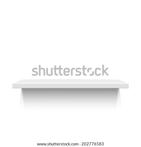 White realistic shelf isolated on white background. Vector illustration - stock vector