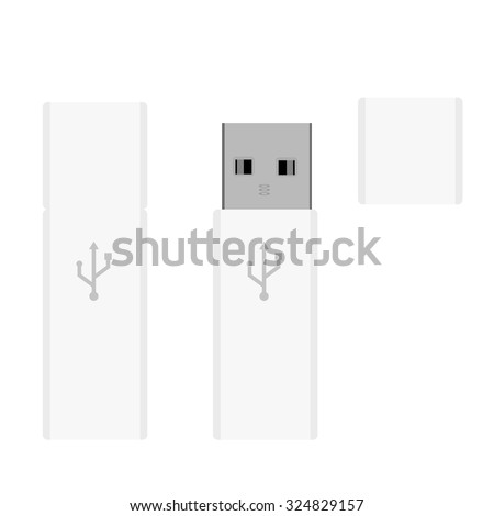 White realistic USB flash drives opened and closed vector illustration. Memory sticks - stock vector