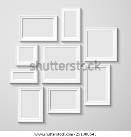 White rectangular photo frame with shadow on a wall.  Eps10 Vector illustration for your design. - stock vector