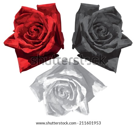 White, red and black roses, polygon design, vector illustration - stock vector