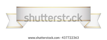 white ribon with shadow - stock vector