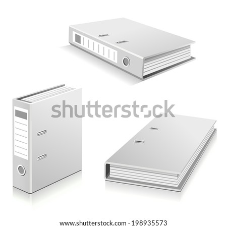 White ring binders set - stock vector