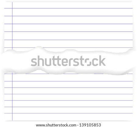 white ripped lined paper - stock vector