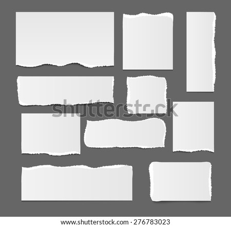 White ripped paper template isolated, vector illustration. Square, rectangular design elements, vector illustration - stock vector