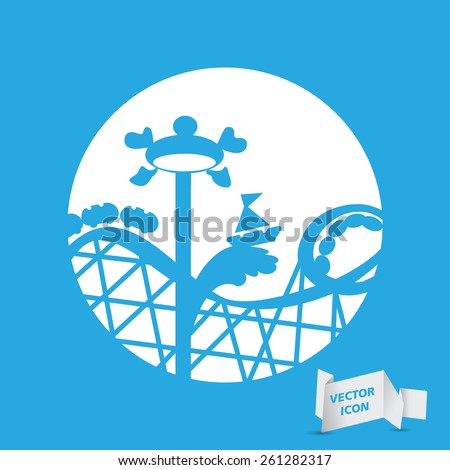 white roller coaster icon or amusement ride icon on a blue background - stock vector
