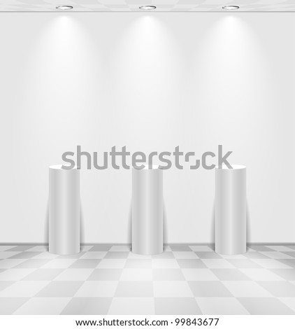 White room with stands - stock vector