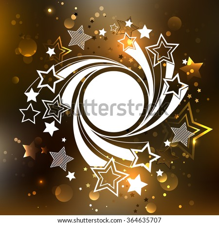 white round banner with white stars on a rotating glowing golden background. - stock vector
