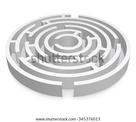 White round 3d labyrinth on white background - stock vector