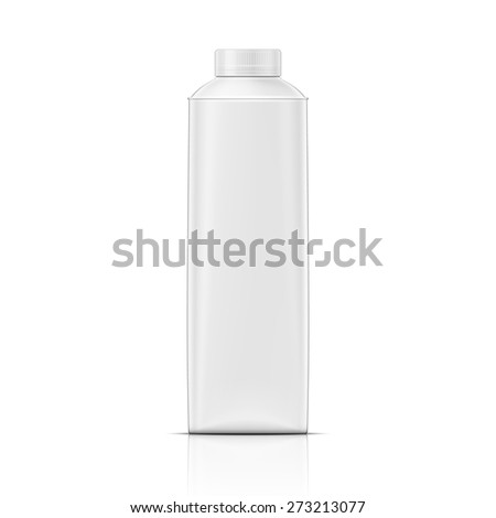 White rounded carton pack template for beverage, juice, milk. Packaging collection. Vector illustration. - stock vector