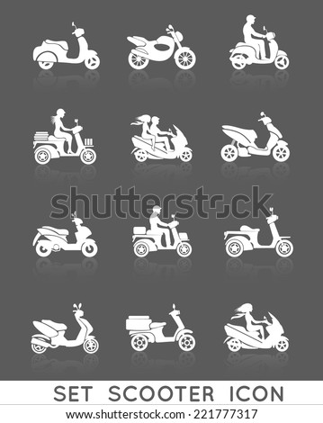 White scooter motorcycle vehicles with people silhouettes icons set isolated vector illustration - stock vector