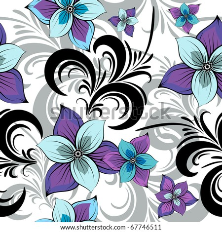 White seamless floral pattern with blue-violet flowers (vector) - stock vector