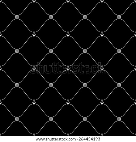 White seamless pattern with anchor & ship wheel symbols on black, 10eps. - stock vector