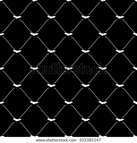 White seamless pattern with bat symbol on black, vector, 10eps. - stock vector