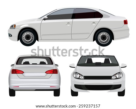 White Sedan Car - stock vector