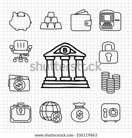 White Series | Financial,Banking icon set - stock vector