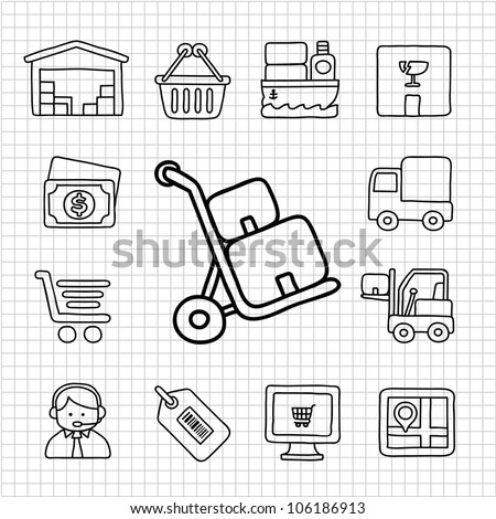 White Series | Hand drawn Delivery,Shopping icon set - stock vector