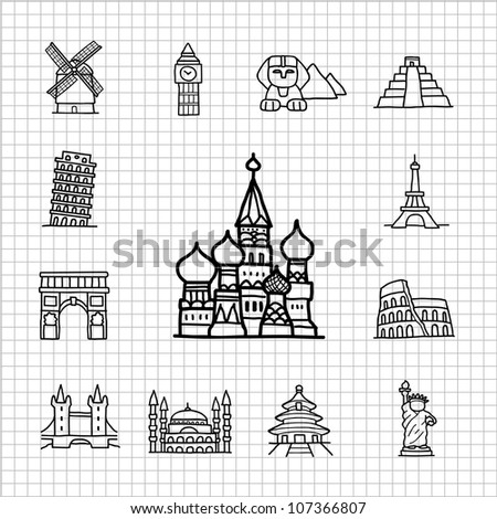 White series | Hand drawn Famous Location,landmarks,Travel  icon set - stock vector