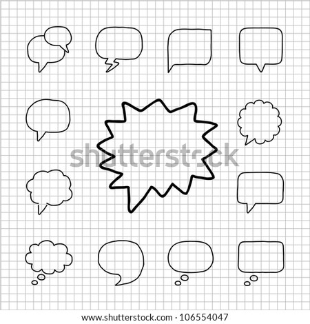 White series | Speech And Thought Bubbles - stock vector