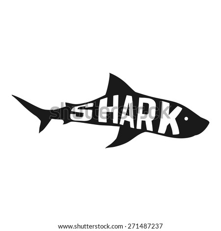 White shark silhouette with text inside. Logo concept. Vector illustration - stock vector