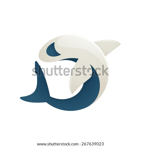 White Shark volume character logo icon symbol in vector  - stock vector